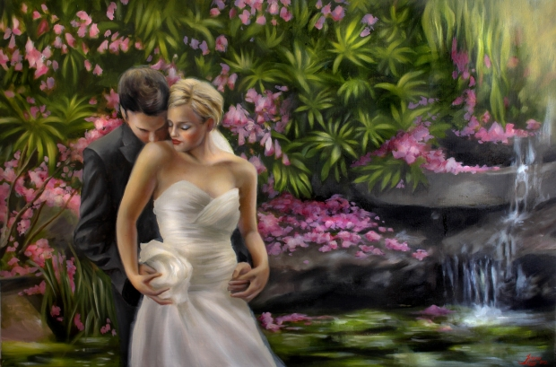 "Jill and Wayne, oil on canvas, 24""x36"", Jessica Libor 2012"